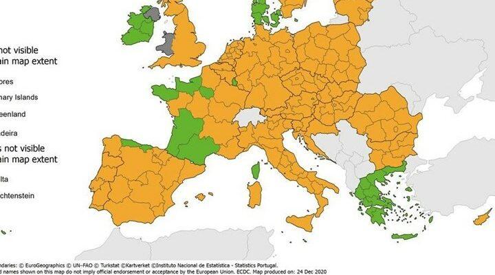 """Κορονοϊός: """"Πράσινη"""" η Ελλάδα στον χάρτη θετικότητας του ECDC"""